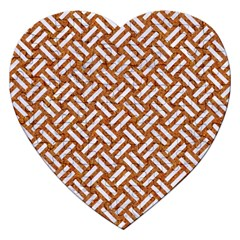 Woven2 White Marble & Rusted Metal Jigsaw Puzzle (heart)