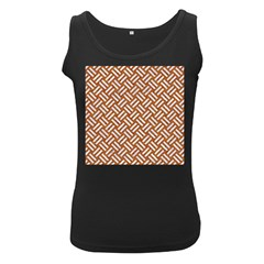 Woven2 White Marble & Rusted Metal Women s Black Tank Top