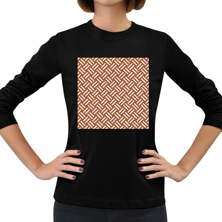 WOVEN2 WHITE MARBLE & RUSTED METAL Women s Long Sleeve Dark T-Shirts