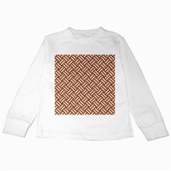 Woven2 White Marble & Rusted Metal Kids Long Sleeve T Shirts