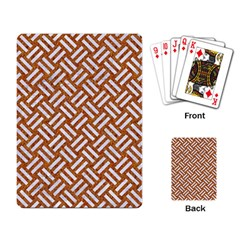 Woven2 White Marble & Rusted Metal Playing Card