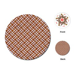 Woven2 White Marble & Rusted Metal Playing Cards (round)