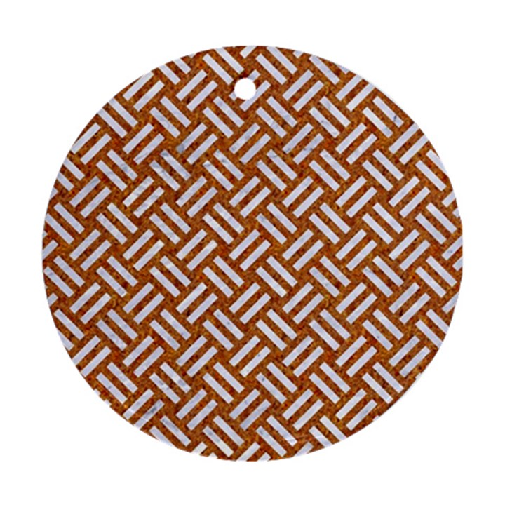 WOVEN2 WHITE MARBLE & RUSTED METAL Round Ornament (Two Sides)