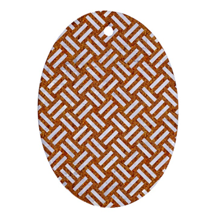 WOVEN2 WHITE MARBLE & RUSTED METAL Oval Ornament (Two Sides)