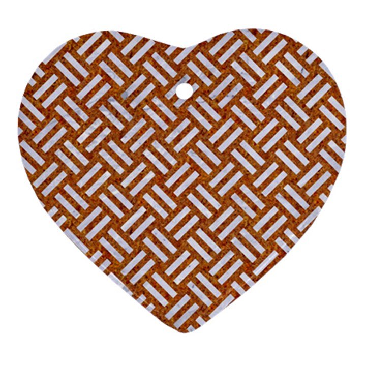 WOVEN2 WHITE MARBLE & RUSTED METAL Heart Ornament (Two Sides)