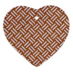 WOVEN2 WHITE MARBLE & RUSTED METAL Heart Ornament (Two Sides) Back