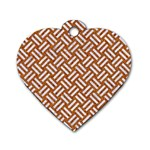 WOVEN2 WHITE MARBLE & RUSTED METAL Dog Tag Heart (One Side) Front