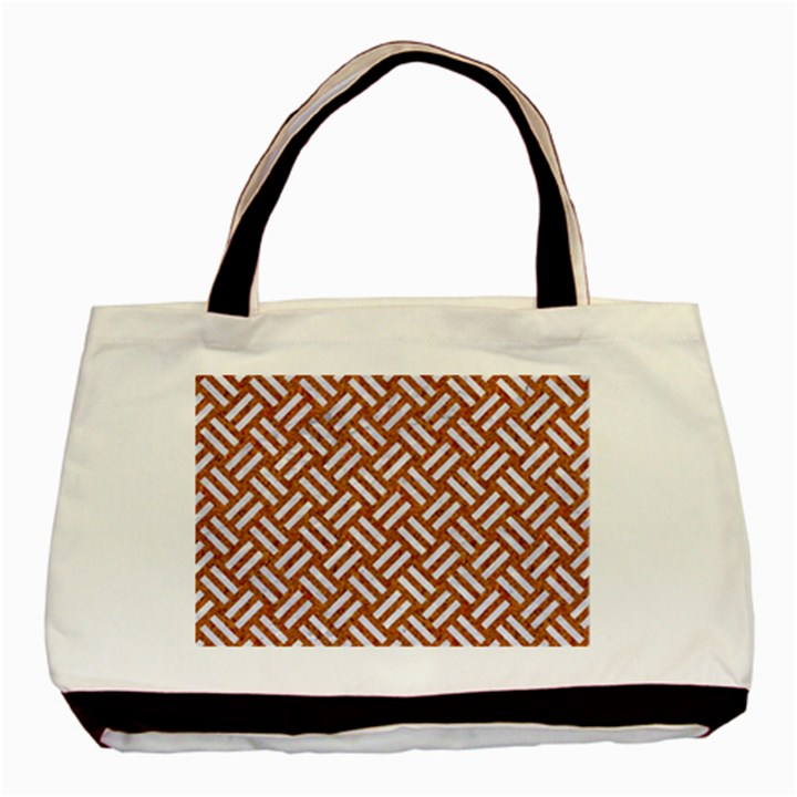 WOVEN2 WHITE MARBLE & RUSTED METAL Basic Tote Bag (Two Sides)