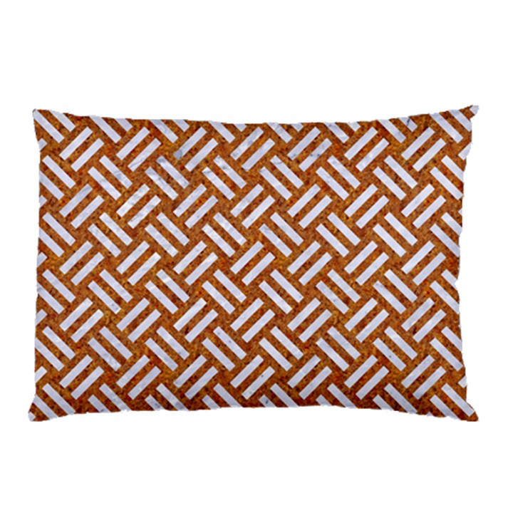 WOVEN2 WHITE MARBLE & RUSTED METAL Pillow Case