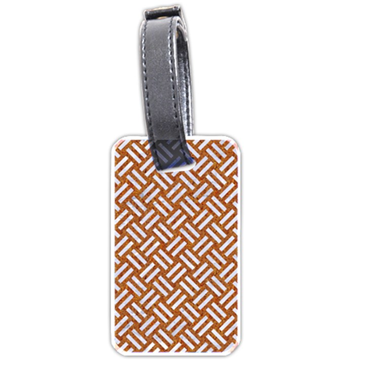 WOVEN2 WHITE MARBLE & RUSTED METAL Luggage Tags (Two Sides)