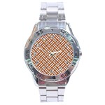 WOVEN2 WHITE MARBLE & RUSTED METAL Stainless Steel Analogue Watch Front