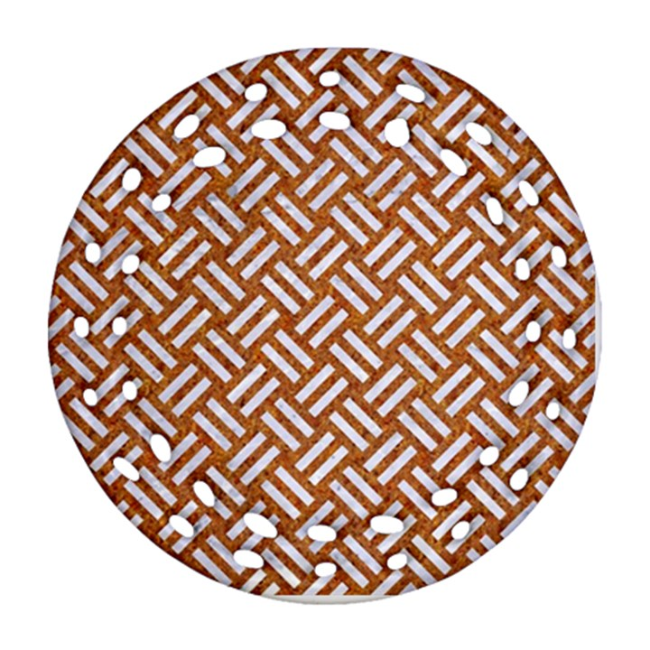 WOVEN2 WHITE MARBLE & RUSTED METAL Ornament (Round Filigree)