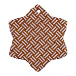 WOVEN2 WHITE MARBLE & RUSTED METAL Ornament (Snowflake) Front