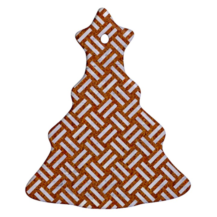 WOVEN2 WHITE MARBLE & RUSTED METAL Ornament (Christmas Tree)