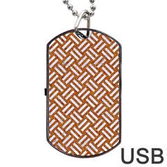 Woven2 White Marble & Rusted Metal Dog Tag Usb Flash (one Side)
