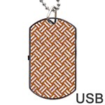 WOVEN2 WHITE MARBLE & RUSTED METAL Dog Tag USB Flash (Two Sides) Front