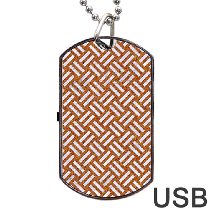WOVEN2 WHITE MARBLE & RUSTED METAL Dog Tag USB Flash (Two Sides)