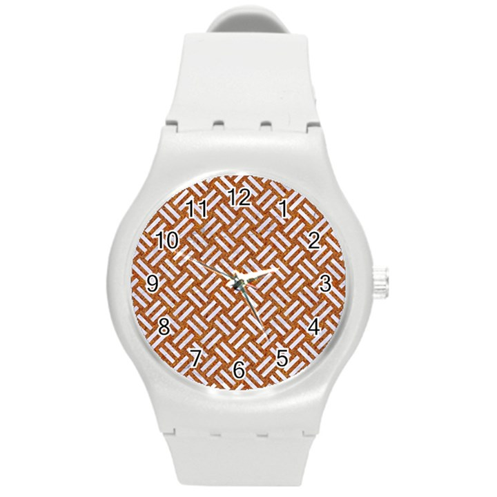 WOVEN2 WHITE MARBLE & RUSTED METAL Round Plastic Sport Watch (M)