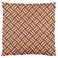 Woven2 White Marble & Rusted Metal Large Cushion Case (two Sides)