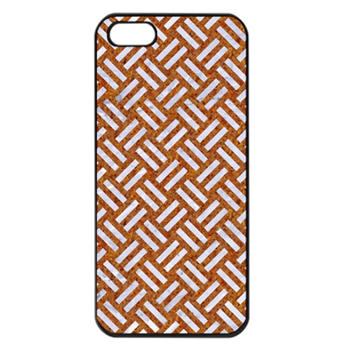 WOVEN2 WHITE MARBLE & RUSTED METAL Apple iPhone 5 Seamless Case (Black)
