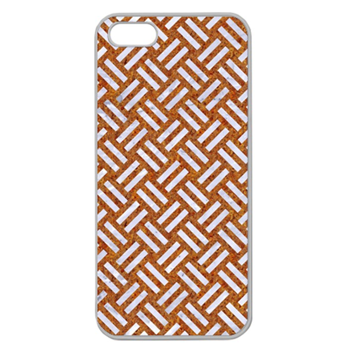 WOVEN2 WHITE MARBLE & RUSTED METAL Apple Seamless iPhone 5 Case (Clear)