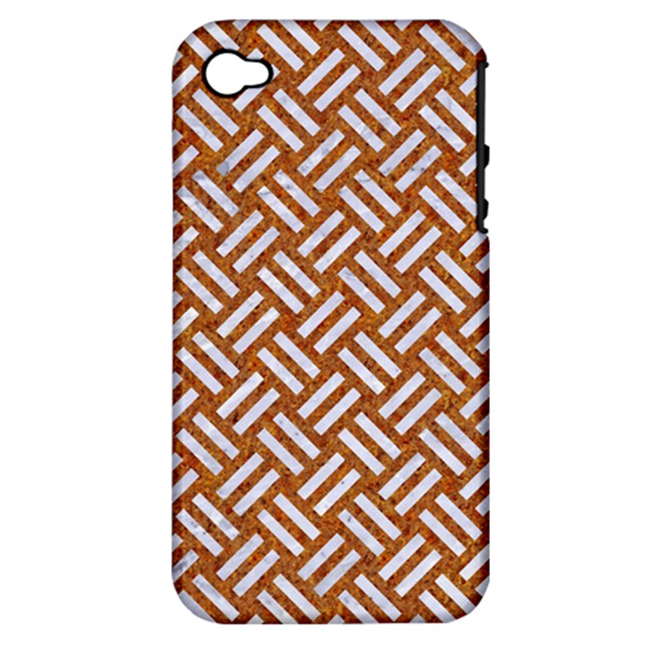 WOVEN2 WHITE MARBLE & RUSTED METAL Apple iPhone 4/4S Hardshell Case (PC+Silicone)