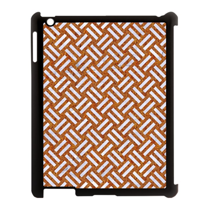WOVEN2 WHITE MARBLE & RUSTED METAL Apple iPad 3/4 Case (Black)
