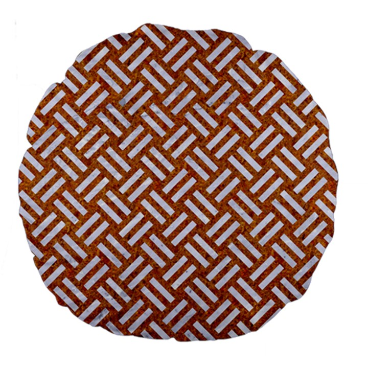 WOVEN2 WHITE MARBLE & RUSTED METAL Large 18  Premium Round Cushions