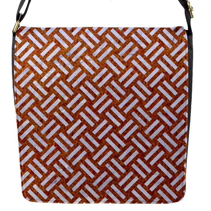 WOVEN2 WHITE MARBLE & RUSTED METAL Flap Messenger Bag (S)