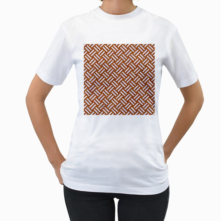WOVEN2 WHITE MARBLE & RUSTED METAL Women s T-Shirt (White)