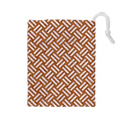Woven2 White Marble & Rusted Metal Drawstring Pouches (large)