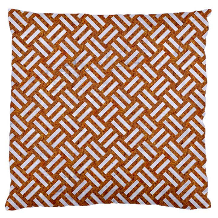 WOVEN2 WHITE MARBLE & RUSTED METAL Large Flano Cushion Case (One Side)