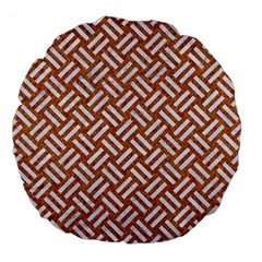 Woven2 White Marble & Rusted Metal Large 18  Premium Flano Round Cushions