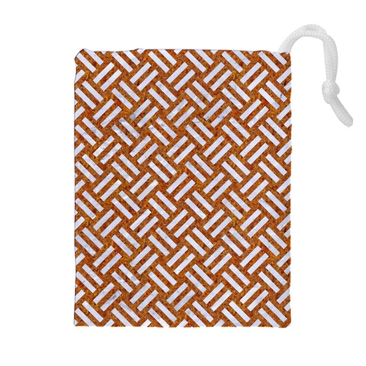 WOVEN2 WHITE MARBLE & RUSTED METAL Drawstring Pouches (Extra Large)