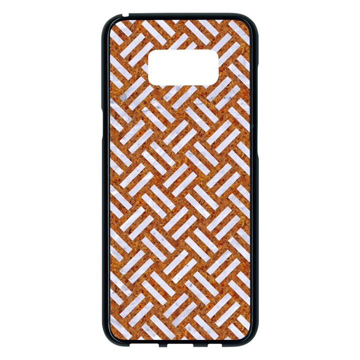 WOVEN2 WHITE MARBLE & RUSTED METAL Samsung Galaxy S8 Plus Black Seamless Case
