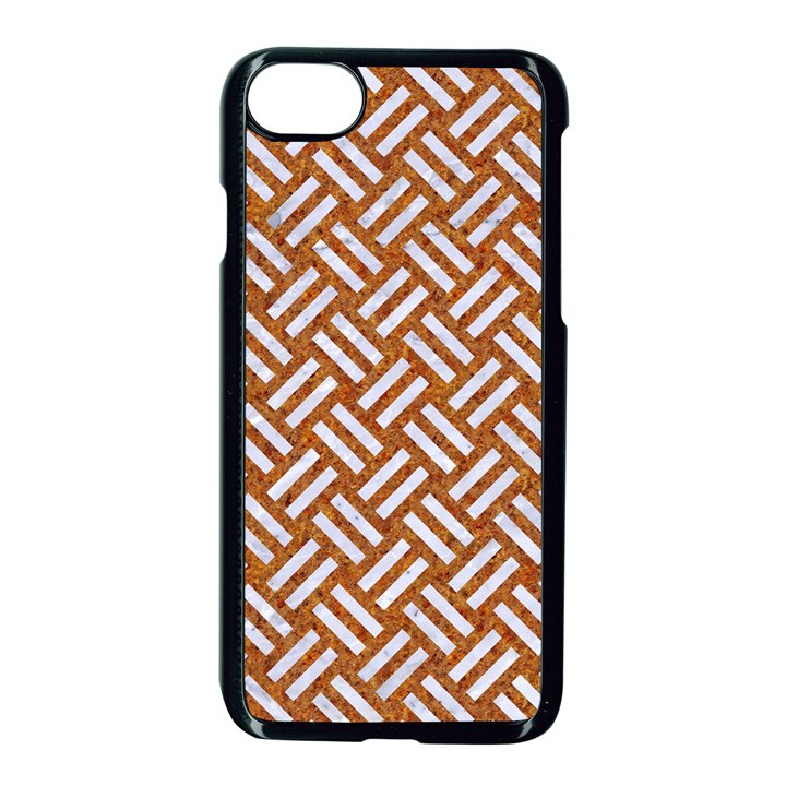 WOVEN2 WHITE MARBLE & RUSTED METAL Apple iPhone 8 Seamless Case (Black)