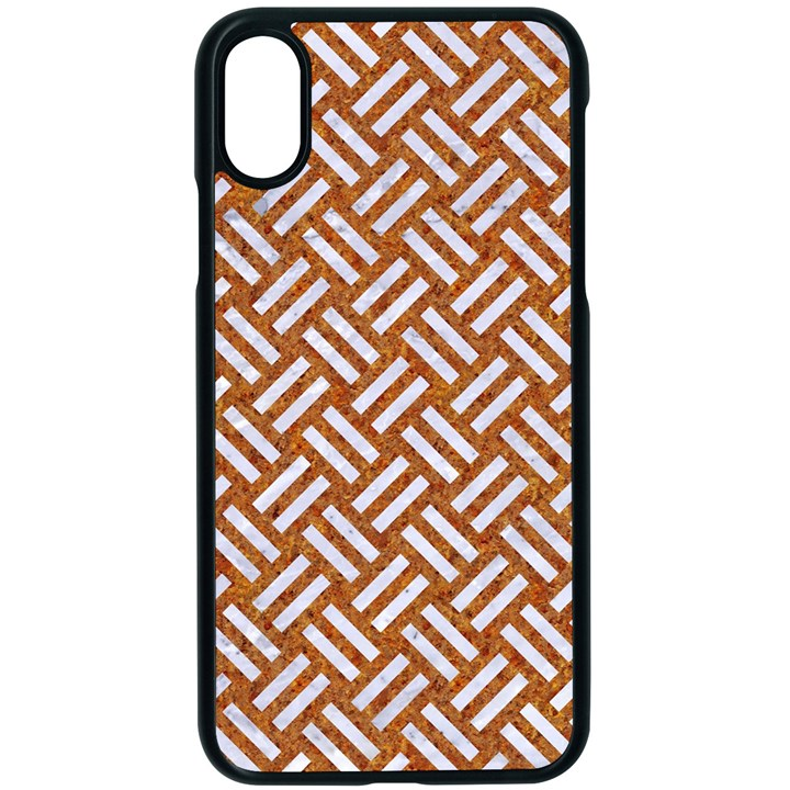 WOVEN2 WHITE MARBLE & RUSTED METAL Apple iPhone X Seamless Case (Black)