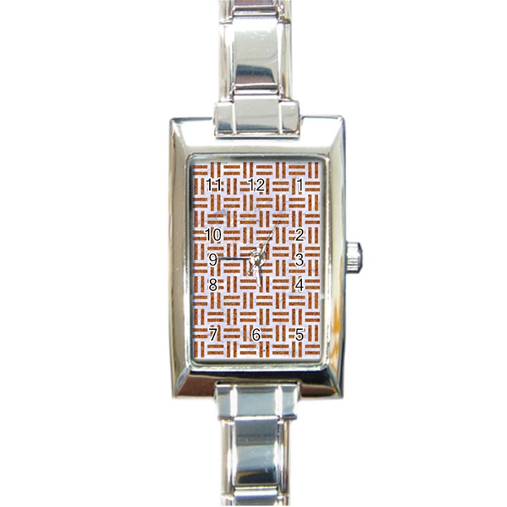 WOVEN1 WHITE MARBLE & RUSTED METAL (R) Rectangle Italian Charm Watch