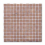 WOVEN1 WHITE MARBLE & RUSTED METAL (R) Tile Coasters Front
