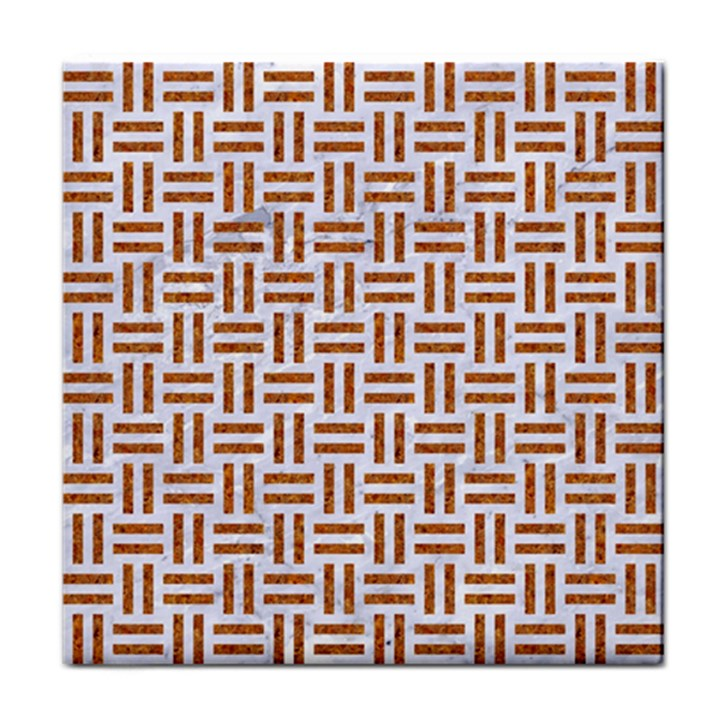 WOVEN1 WHITE MARBLE & RUSTED METAL (R) Tile Coasters
