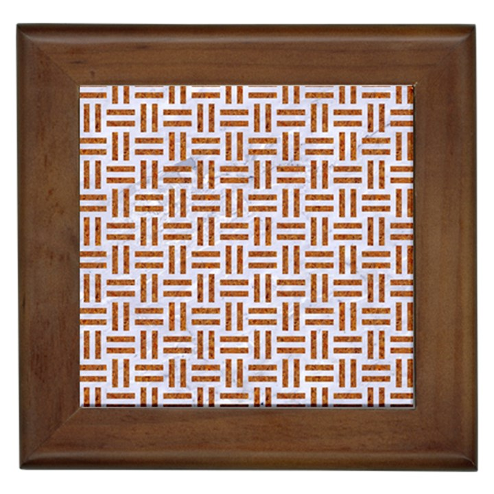 WOVEN1 WHITE MARBLE & RUSTED METAL (R) Framed Tiles