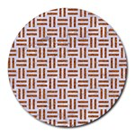 WOVEN1 WHITE MARBLE & RUSTED METAL (R) Round Mousepads Front