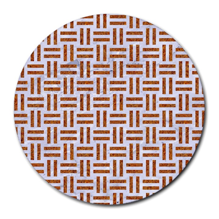 WOVEN1 WHITE MARBLE & RUSTED METAL (R) Round Mousepads
