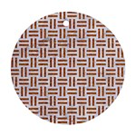 WOVEN1 WHITE MARBLE & RUSTED METAL (R) Ornament (Round) Front