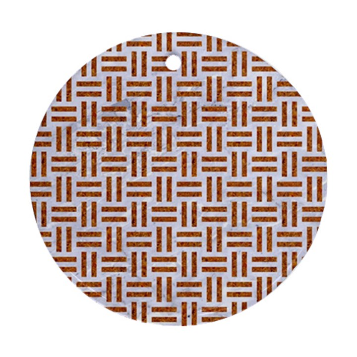 WOVEN1 WHITE MARBLE & RUSTED METAL (R) Ornament (Round)
