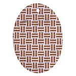 WOVEN1 WHITE MARBLE & RUSTED METAL (R) Ornament (Oval) Front