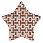 WOVEN1 WHITE MARBLE & RUSTED METAL (R) Ornament (Star) Front