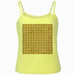 WOVEN1 WHITE MARBLE & RUSTED METAL (R) Yellow Spaghetti Tank Front