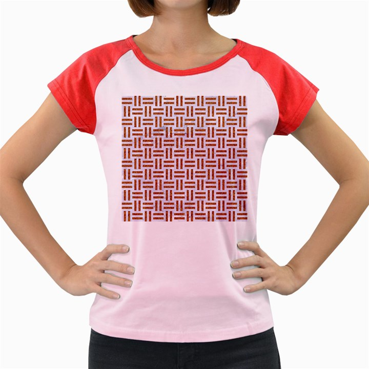 WOVEN1 WHITE MARBLE & RUSTED METAL (R) Women s Cap Sleeve T-Shirt