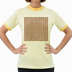 WOVEN1 WHITE MARBLE & RUSTED METAL (R) Women s Fitted Ringer T-Shirts Front